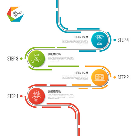 Abstract 4 steps road timeline infographic template.