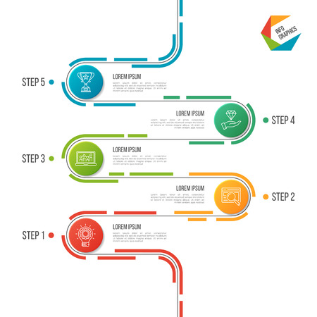 Abstract 5 steps road timeline infographic template.