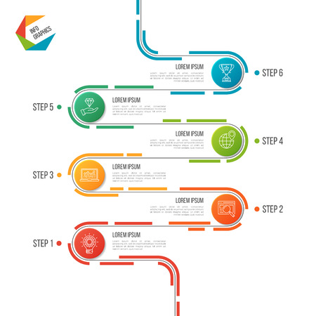 Abstract 6 steps road timeline infographic template. Stock Illustratie
