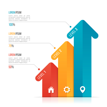 Arrow infographic template for data visualization. 3 options, le