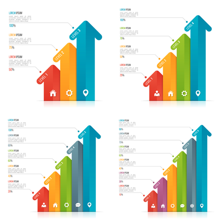 Set of arrow infographic templates for data visualization. 3-6 o