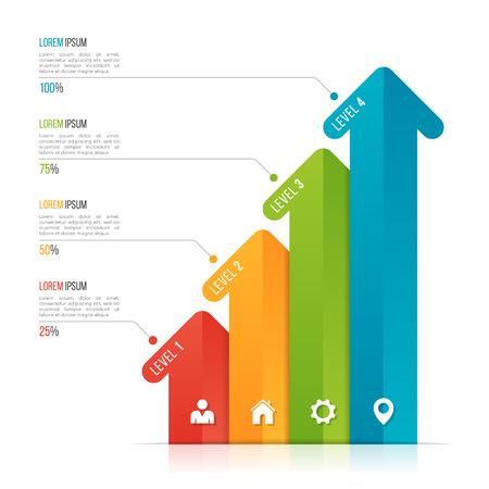 데이터 시각화를위한 화살표 infographic 템플릿. 옵션 4 개
