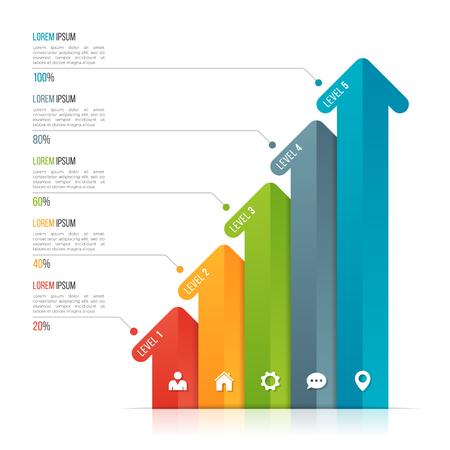 데이터 시각화를위한 화살표 infographic 템플릿. 옵션 5 개 일러스트