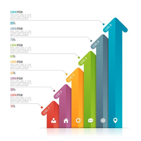 데이터 시각화를위한 화살표 infographic 템플릿. 옵션 6 개