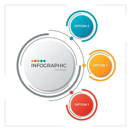 Circle chart infographic template with 3 options 免版税图像 - 83384552