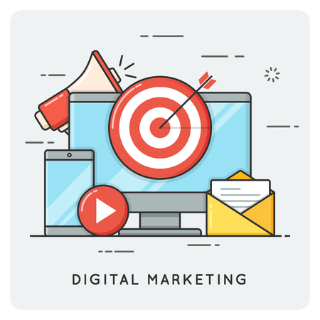 electronic commerce: Digital marketing. Flat line art style concept. Vector illustrat