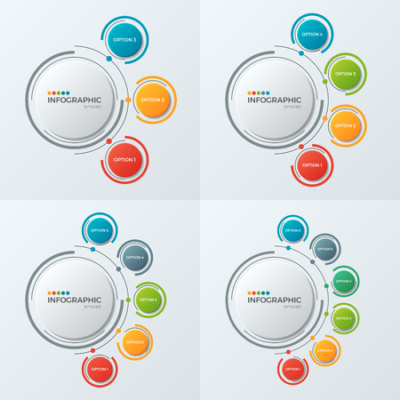 Circle chart infographic templates with 3-6 options for presenta