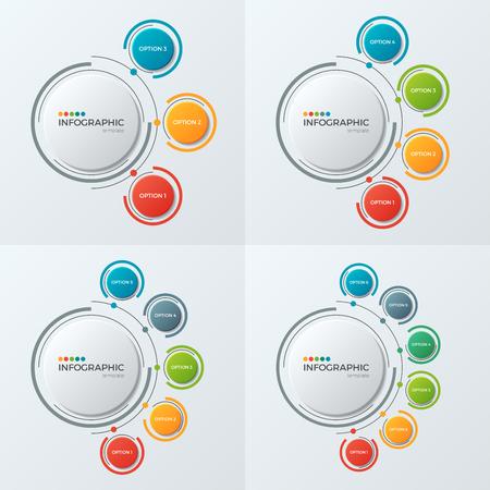 Cirkeldiagram infographic sjablonen met 3-6 opties voor presenta