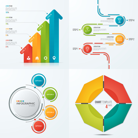 4 가지 옵션이있는 infographics 용 벡터 템플릿 컬렉션 일러스트