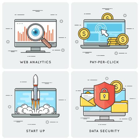 Web analytics. Pay per click. Start up. Data security. Vector fl Illustration