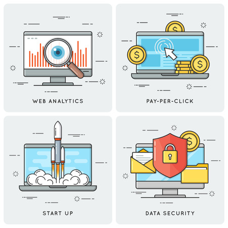 Web analytics. Pay per click. Start up. Data security. Vector fl Stock Vector - 84216014