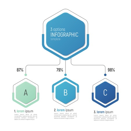 Iinfographic template for data visualization. 3 options.