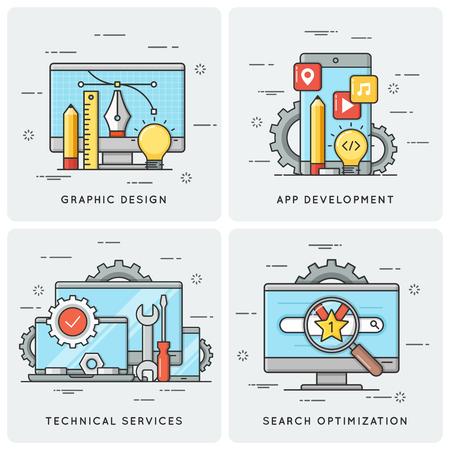 Grafisch ontwerp. Mobiele app-ontwikkeling. Technische diensten. SEO Stock Illustratie