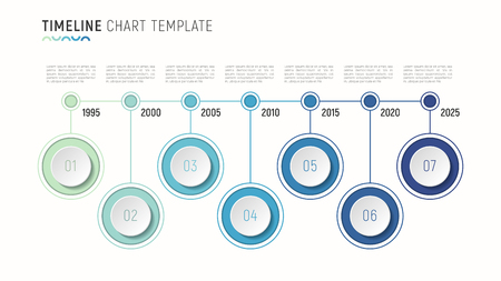 Timeline chart info-graphic template for data visualization.