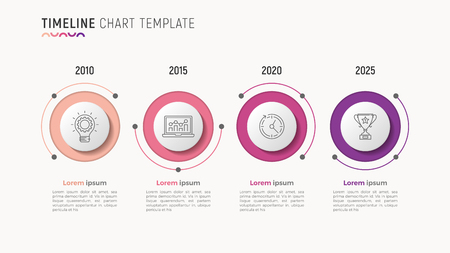 Timeline chart info-graphic design for data visualization. 4 step