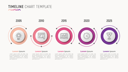 Timeline chart info-graphic design for data visualization. 5 step Vectores