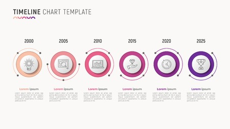 Timeline chart info-graphic design for data visualization. 6 step Illustration