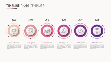 Timeline chart info-graphic design for data visualization. 6 step Ilustrace