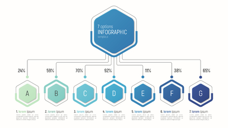 データの可視化の情報グラフィック テンプレートです。7 オプション。