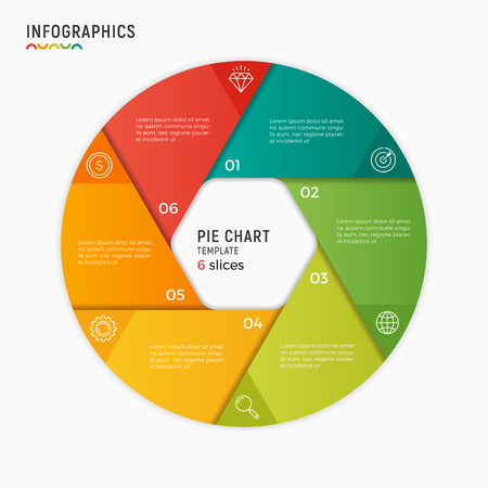 Vector circle chart infographic template. 6 options, steps, part Illustration