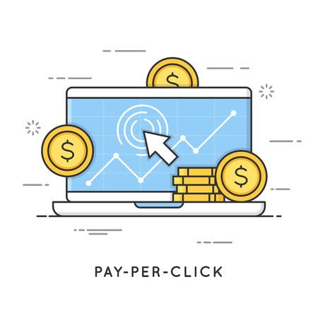 Pay per click, internet marketing. Flat line art style concept.
