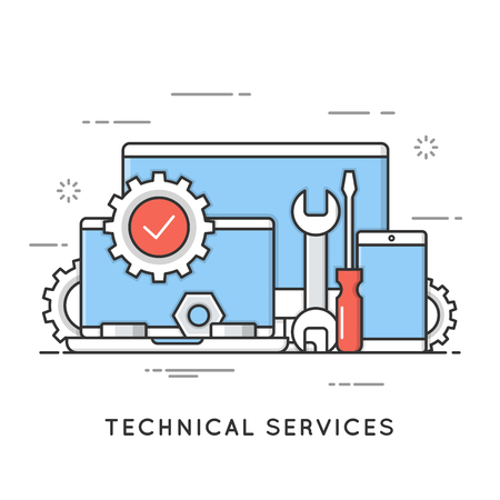 Technische diensten, computerreparatie, ondersteuning. Platte lijnstijl Stock Illustratie
