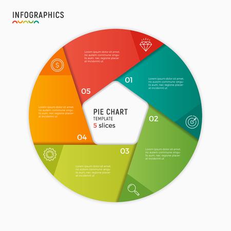 벡터 원 차트 infographic 템플릿입니다. 5 가지 옵션, 단계, 부분