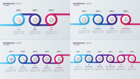Vector timeline chart infographic designs for data visualization Illustration