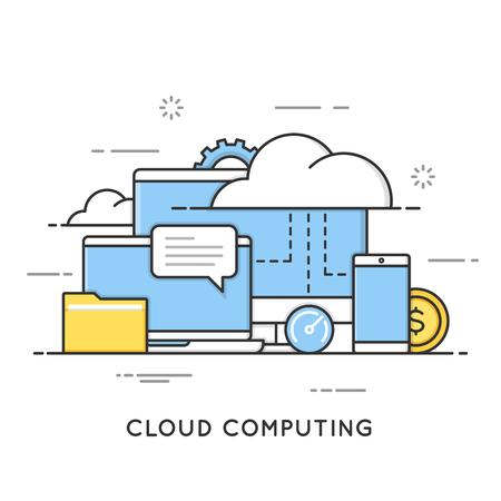 Cloud computing, data storage, web services. Flat line art style concept. Editable stroke. Stock Illustratie