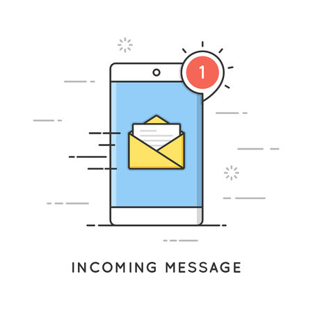Incoming email notification, new message. Flat line art style concept. Editable stroke. Illustration