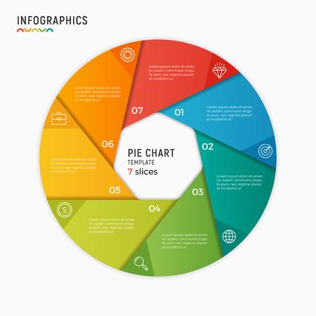 벡터 원 차트 infographic 템플릿입니다. 7 가지 옵션, 단계, 부품 스톡 콘텐츠 - 85065391