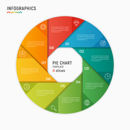 Vector circle chart infographic template. 8 options, steps, parts