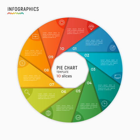 Vector circle chart infographic template. 10 options, steps, parts