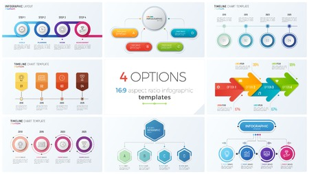 Collection of eight vector templates for infographics with 4 options, steps, processes Zdjęcie Seryjne - 85065406