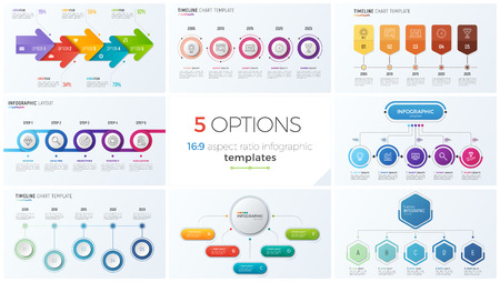 Collection of eight vector templates for infographics with 5 options, steps, processes Illustration