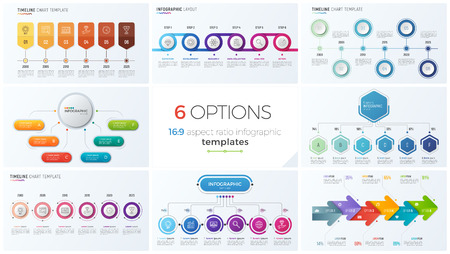 Collection of eight vector templates for infographics with 6 options, steps, processes Ilustração