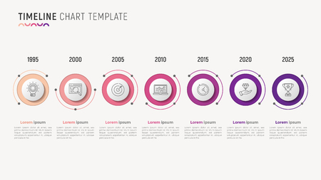 Timeline chart infographic design for data visualization. 7 steps