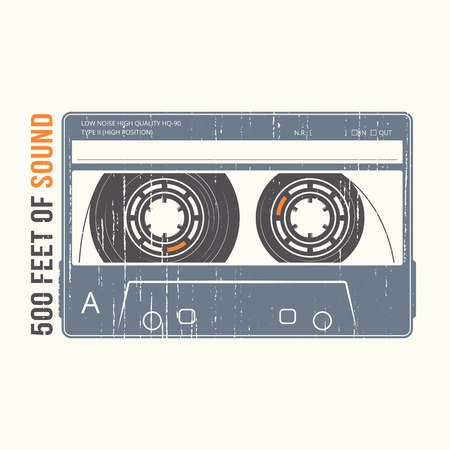 Retro design with a cassette tape. vector illustration. Ilustração