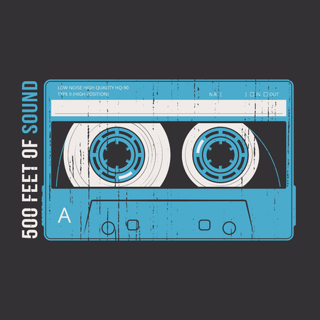 Retro design with a cassette tape. vector illustration. Çizim