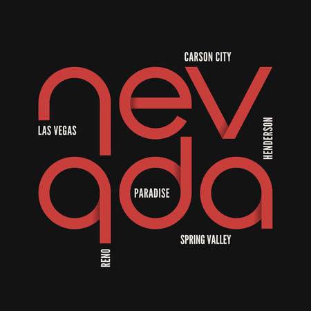 Nevada state. T-shirt and apparel vector design.