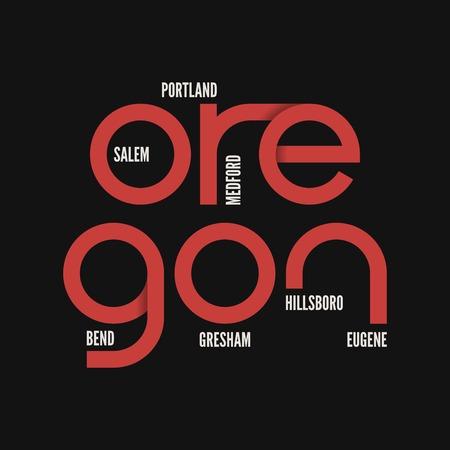 オレゴン州。T シャツ、アパレルのベクター デザイン。