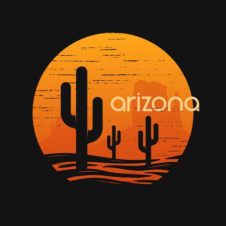 Landschap van de staat Arizona. T-shirt vector ontwerp.