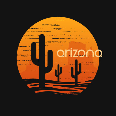 Landscape of Arizona state. T-shirt vector design.