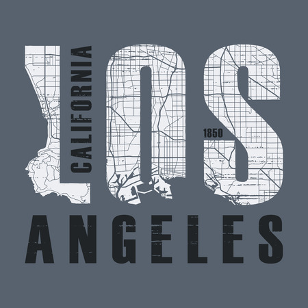 로스 앤젤레스 티셔츠 및 의류 디자인.