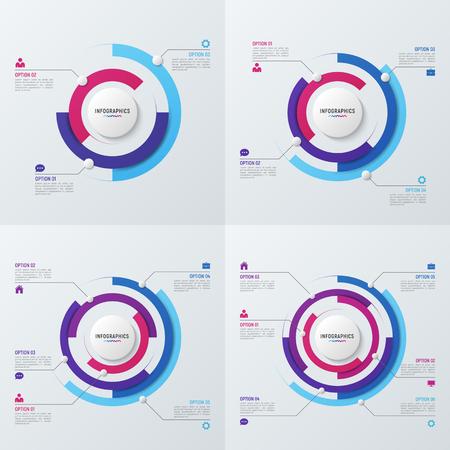 データの可視化のためのベクトル円グラフ インフォ グラフィック テンプレート  イラスト・ベクター素材