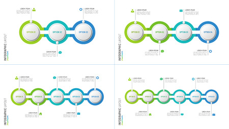 Vector timeline chart infographic designs for data visualization Ilustrace