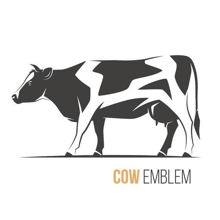 Vector illustratie van een stijlvolle gevlekte holstein koe.