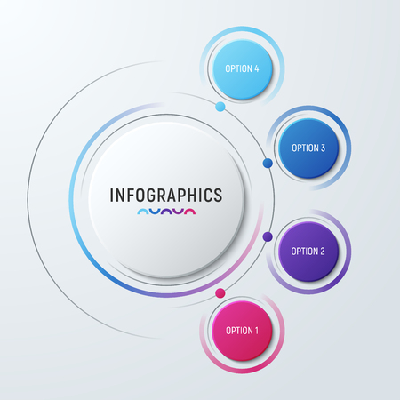 Vector circle chart infographic template for presentations, adve Ilustrace