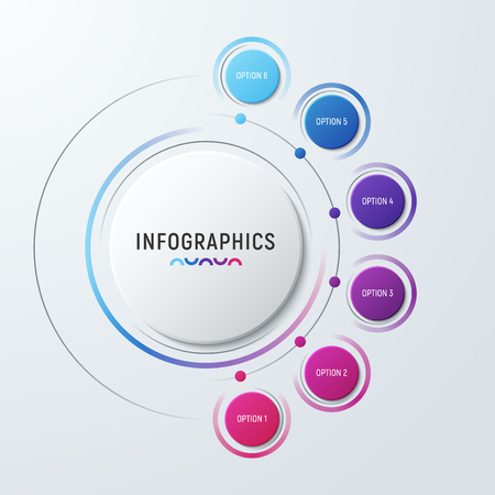 Vector circle chart infographic template for presentations, adve Stock Illustratie