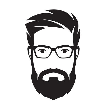 ひげを生やした顔、流行に敏感な文字をマンします。Avata ファッション シルエット  イラスト・ベクター素材